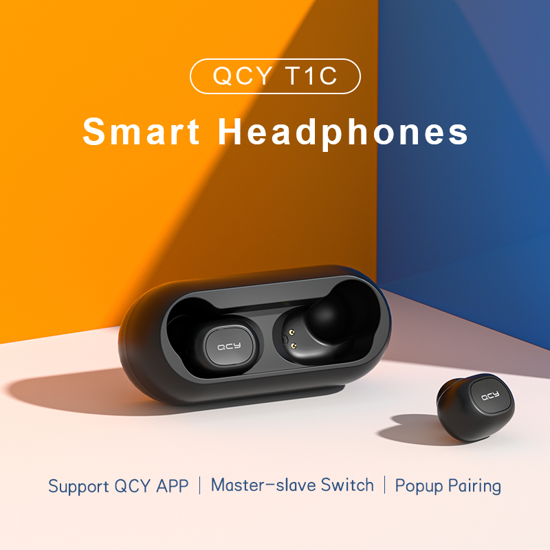 QCY T1C TWS 5.0 Bluetooth headphones 3D stereo wireless earphones with dual microphone 2