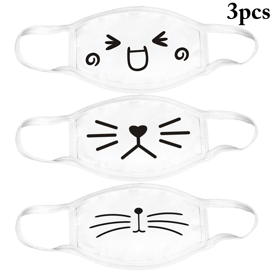 3pcs White Anti-Dust Cotton Cute Bear Anime Cartoon Mouth Mask Kpop Mouth Muffle Face Mouth Masks Women Men