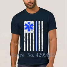 Proud Paramedic Emt Ems Thin White Line Flag T-Shirt Round Neck Kawaii Men T Shirt 2018 Camiseta Shirt Cotton Funky Top Quality(China)
