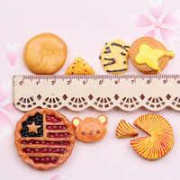 Mini orden Kawaii cabujones de resina 10 piezas lindo comida galleta Pizza DIY joyería accesorios adornos niña pelo arco centro