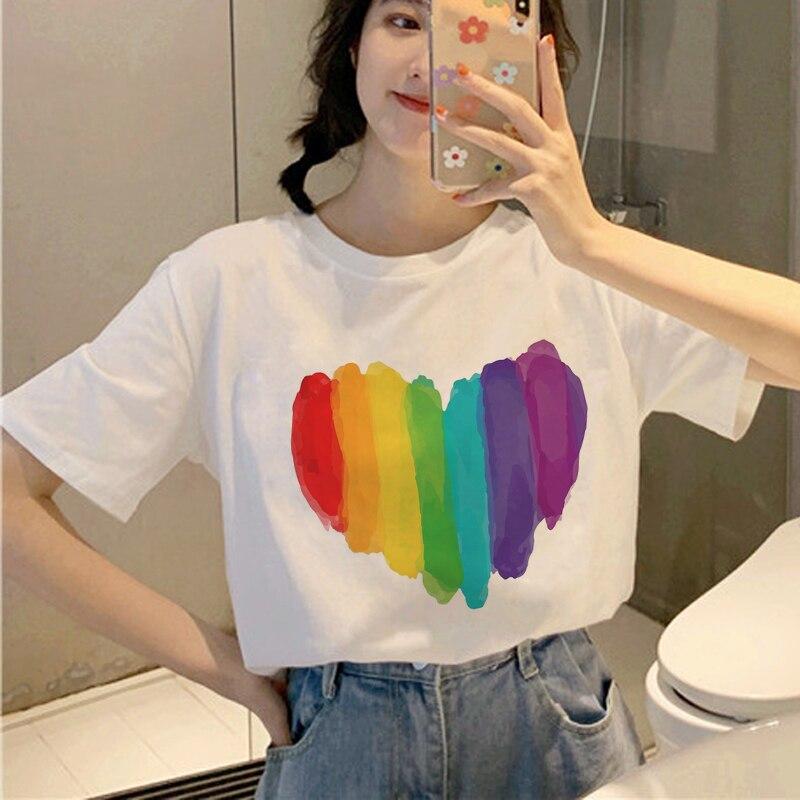 New Lgbt Harajuku T Shirt Women Ullzang Gay Pride T Shirt Graphic Lesbian Cartoon Print Tshirt Korean Style Top