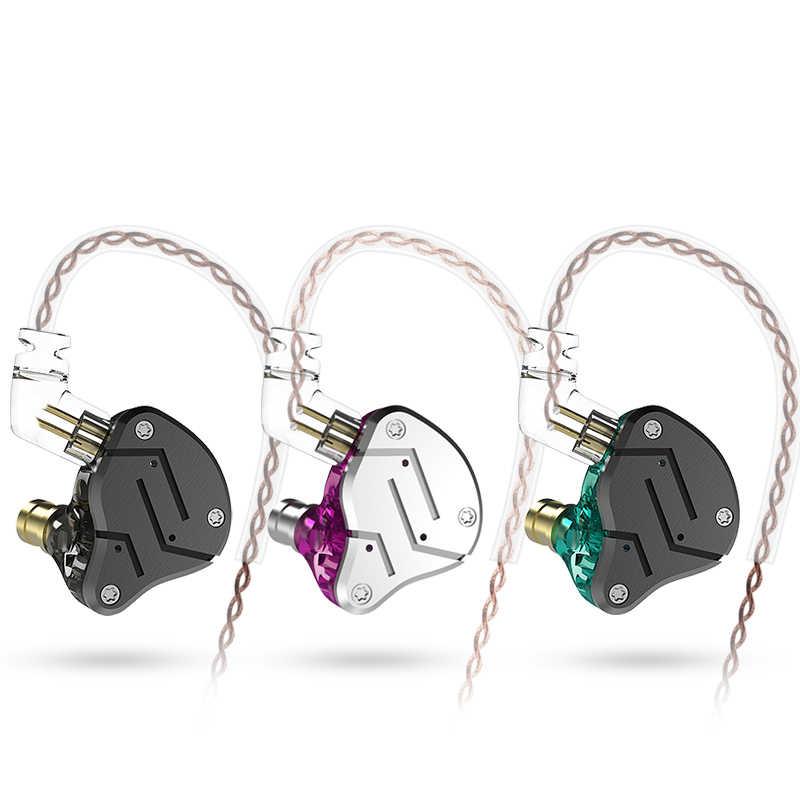 KZ ZSN metalowe słuchawki technologia hybrydowa 1BA + 1DD HIFI Bass słuchawki douszne w ucho monitora słuchawki sportowe z redukcją szumów zestaw słuchawkowy