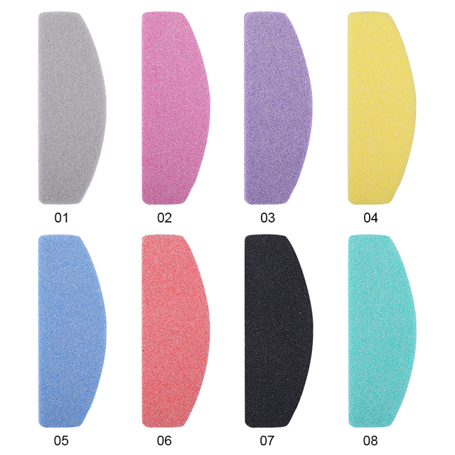 5 Pcs/Set Professional Nail File Colorful Sponge Sanding Grinding Nail Files Nail Shaping DIY Nail Art Tools 8 Colors