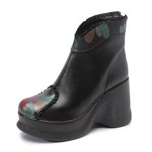 Image 2 - GKTINOO 2020 أحذية النساء مريحة الخريف جلد طبيعي حذاء من الجلد للنساء لينة أسافين أحذية منصة السيدات