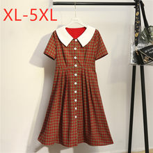 New 2020 ladies summer plus size long dress for women large loose retro short sleeve button plaid straight dress 3XL 4XL 5XL(China)