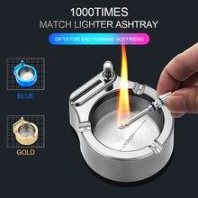 Metal Ashtray Lighter Cigar Smoking-Accessories Retro Match Creative Ten Thousand Crafts