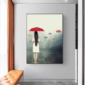 Woman with Umbrella In The Rain Painting Printed on Canvas 5