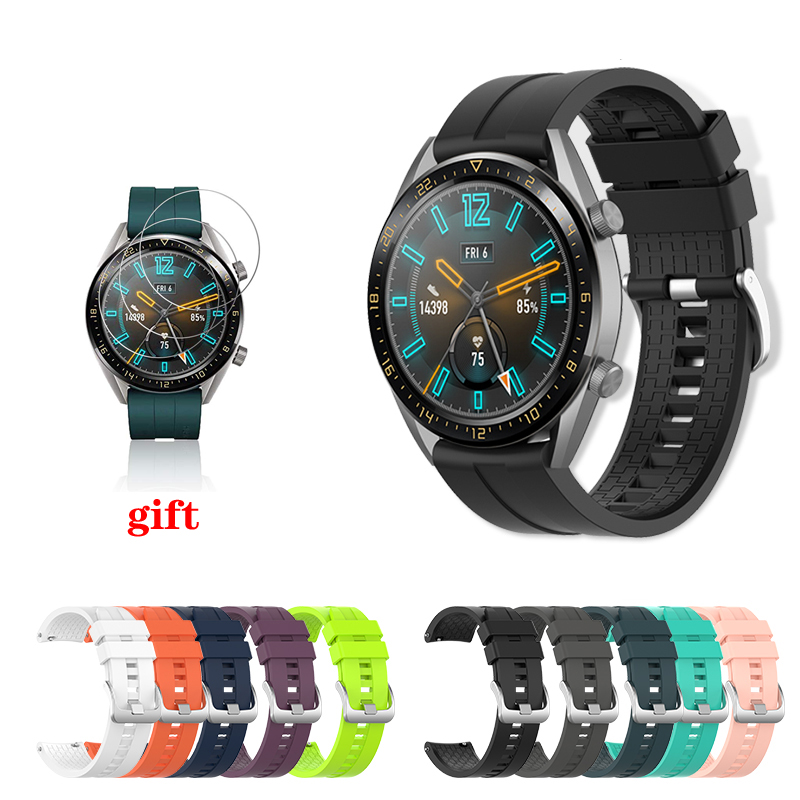 Huawei watch gt strap for <font><b>samsung</b></font> galaxy watch 46mm gear <font><b>S3</b></font> <font><b>Frontier</b></font> band 22mm silicone <font><b>smartwatch</b></font> bracelet + watch film image