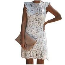 Женское кружевное платье без рукавов с оборками и цветочным