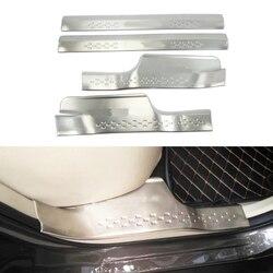 4 sztuk ze stali nierdzewnej wewnętrzny próg drzwiowy płyta chroniąca przed zarysowaniem listwa progowa próg pedał dla Nissan x-trail XTrail T32 Rogue 2017 2018