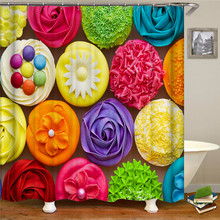 Assorted Red Flower Shower Curtains Floral Leaf Waterproof Polyester Bathroom Curtain Fabric For Bathroom Curtain white embroidered short curtain for kitchen floral sheer tulle curtains for bedroom voile window screening curtain blinds drapes