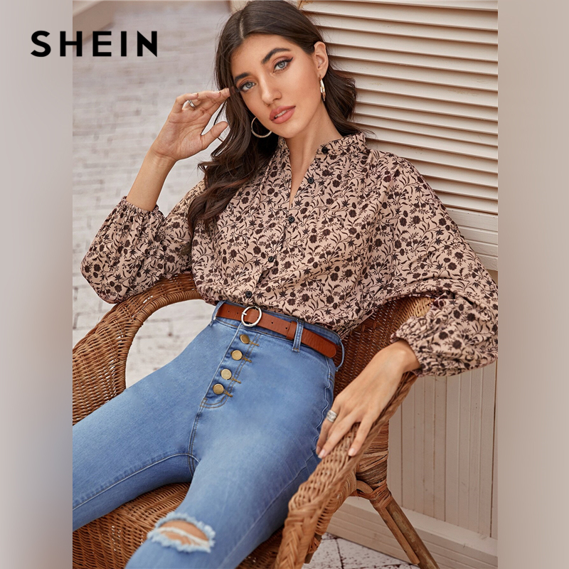 SHEIN Multicolor Mock Neck Ditsy Floral Print Shirt Blouse Women Spring Autumn Button Front Bishop Sleeve Bohemian Blouses