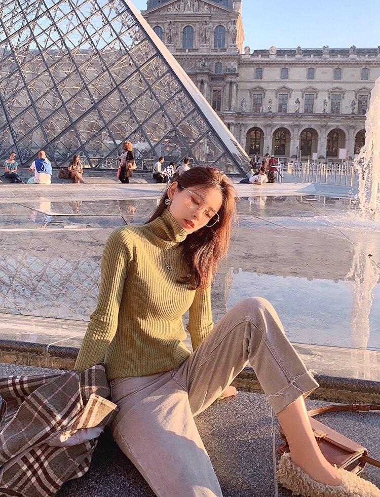 MISHOW 2019 Autumn Winter Gray Thick Woolen Coat Women Causal Lapel Striped Plaid Long Sleeve Coat Jackets  MX19C9538 27