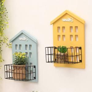 Praktyczna półka ścienna drewniany dom półka wyświetlacz półka ścienna wiszące pudełko przechowywanie dekoracje do własnoręcznej aplikacji kuchnia ogród