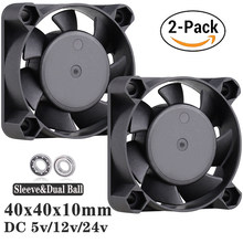 2pcs Gdstime 3D printer fan 24V 12V 5V Small Axial Cooler 4cm 2Pin Ball Bearing DC Brushless Cooling Fan 40x40x10mm 4010 3Pin