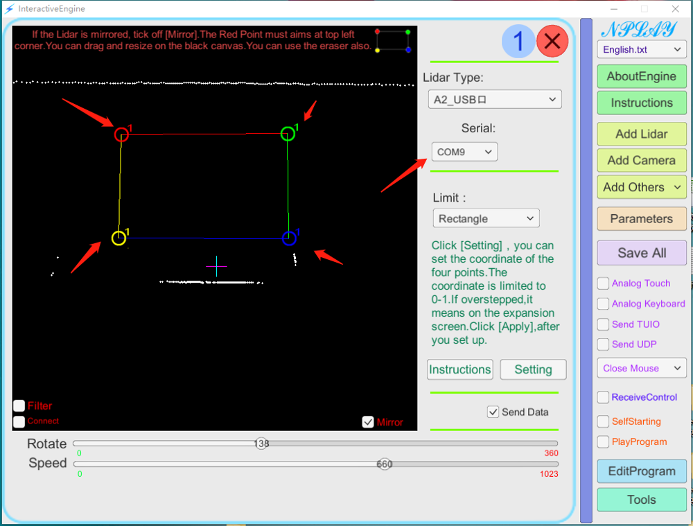 RPLIDAR YDLIDAR HOKUYO FASELASE ليدار متعدد الشاشات التي تعمل باللمس الرسوم المتحركة شاشة كبيرة البرامج التفاعلية دعم العمل متعدد الرادار