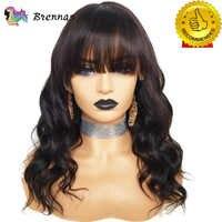 Brennas Spitze Frontal Perücke Mit Pony Körper Welle Spitze Front Menschliches Haar Perücken Brasilianische Remy haar Vor Gezupft natürliche farbe für frauen