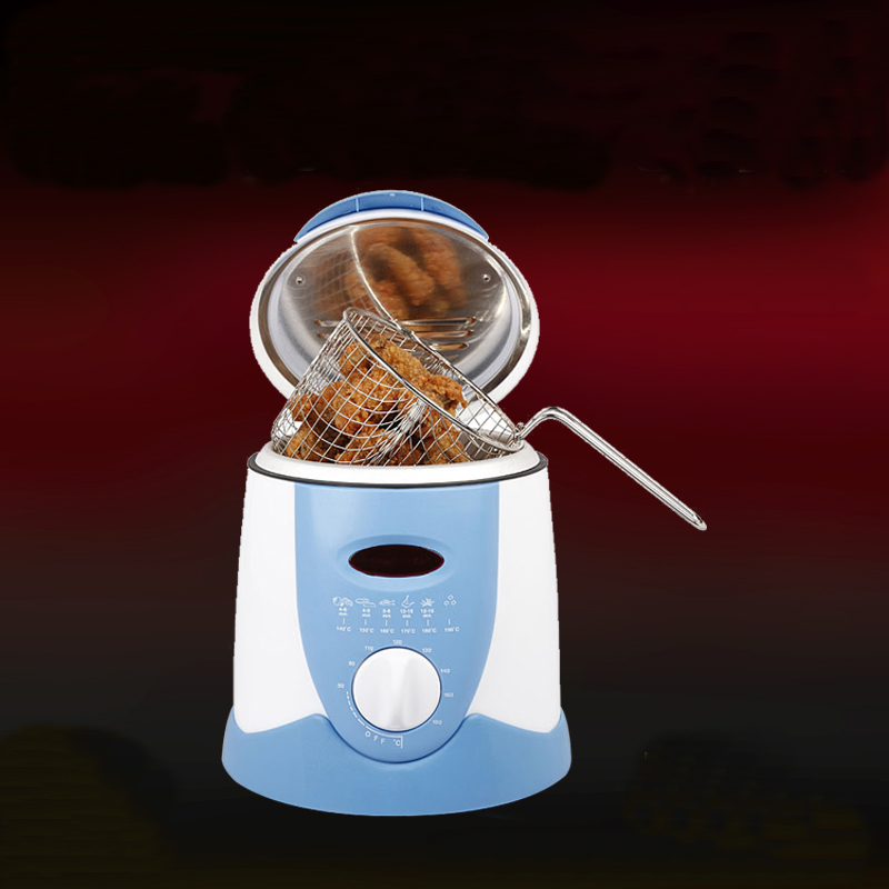 Smokeless Multifunctional Frying Pan 0.9L Mini Electric Oil Fryer Oven French Fries Grill Chicken Fried Fish Pot Machine EU