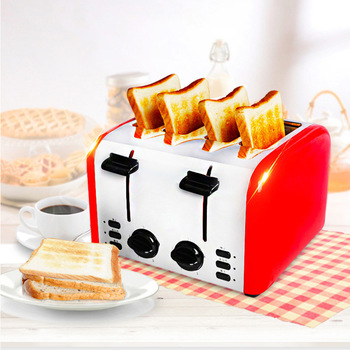 Commercial Fully Automatic Toast Maker 4-slice Toaster Breakfast Machine Household Bread Roasting Machine TR-2202 high quality 2 slices toaster stainless steel made automatic bake fast heating bread toaster household breakfast maker