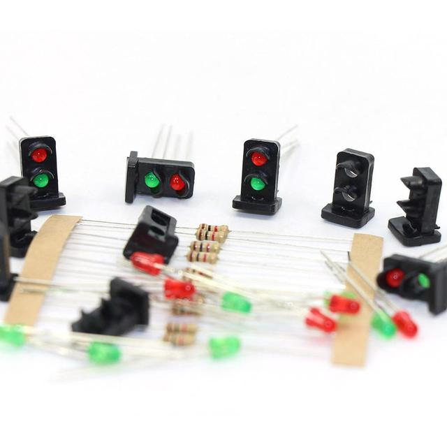 JTD19 10 sets HO scale Target Faces With 2 LEDs Red/Green 1:87 Railway Dwarf signal HO Scale 2 Aspects 5