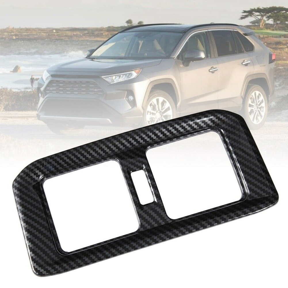 For Toyota RAV4 2019 Carbon ABS Car Accessory Rear Air AC Vent Outlet Cover Trim