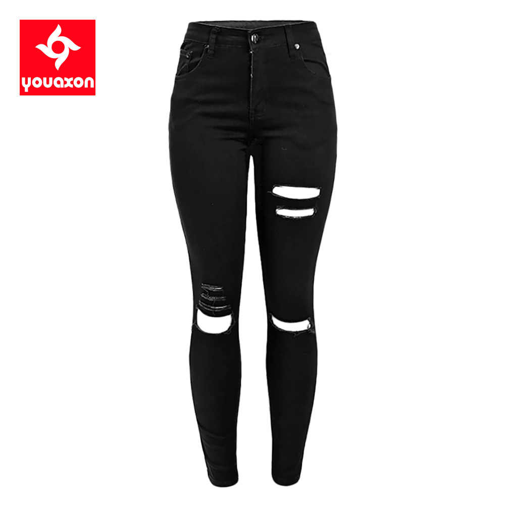 Youaxon Pantalones Vaqueros Rasgados Para Mujer Vaqueros Ajustados Desgastados Para Celebridades Color Negro 1878 Jeans Clasic Trouser Designstrouser Style Jeans Aliexpress