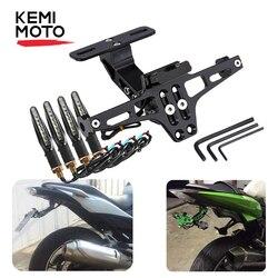 Suporte da montagem da placa de licença da motocicleta traseira e transformar a luz do sinal para honda para kawasaki z750 z800 para yamaha mt07 mt09 mt10 r1 3