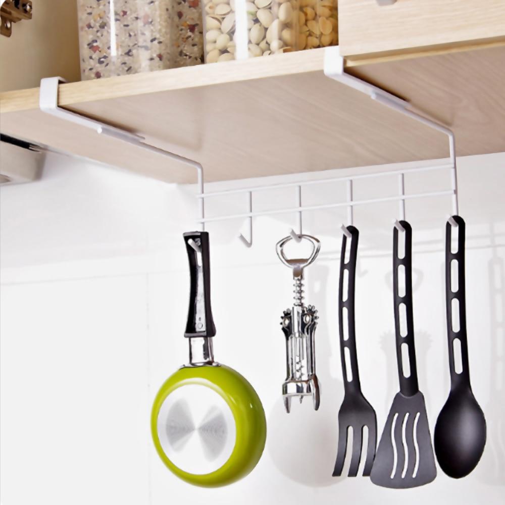 Multifunctional Cabinet Under Hook Kitchen Metal Storage Hanging Holder Shelf Home Storage Rack Nailless Hanging Organizer