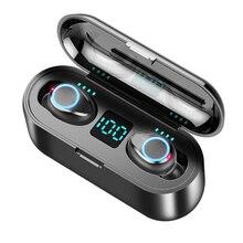 ワイヤレスイヤホン Bluetooth V5.0 F9 TWS ワイヤレス Bluetooth ヘッドフォン LED ディスプレイ 2000 2600mah のパワーバンクヘッドセットとマイク