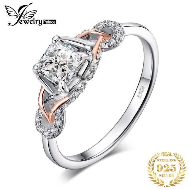 JewelPalace Infinity Celtic Knot Engagement Ring Rose Gold 925 Sterling Silver Rings for Women Wedding Rings Silver 925 Jewelry