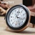 HNATUY, мужские часы, полный календарь, браслет, Clas, деревянные часы, кварцевые наручные часы, простой ход, мужские часы, деревянный ремешок, час...