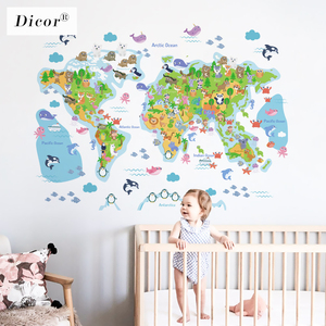 DICOR 3 Kinds Cartoon World Map Wall Sticker Animals For Kids Room Nursery DIY Mural Creative Waterproof Decal PVC Wallpaper New