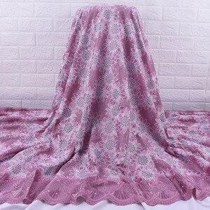 Image 3 - Afrika dantel kumaş 2019 yüksek kalite fransız vual dantel kumaş nakış Floret için nijeryalı kumaş düğün elbisesi parti A1728