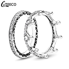 CUTEECO Fashion Silver Color Magic Love Crown Zircon Combination Rings for Women Wedding Ring Engagement Jewelry Valentine's Day cuteeco hight quality silver pan ring love heart ring original wedding jewelry gift for lover engagement accessories