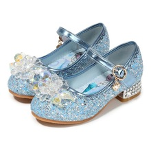 Disney Elsa Princess Girls Shoes Frozen Cartoon Dress Shoes For Girls Fashion Party Shoes With High Heels Christmas Gift