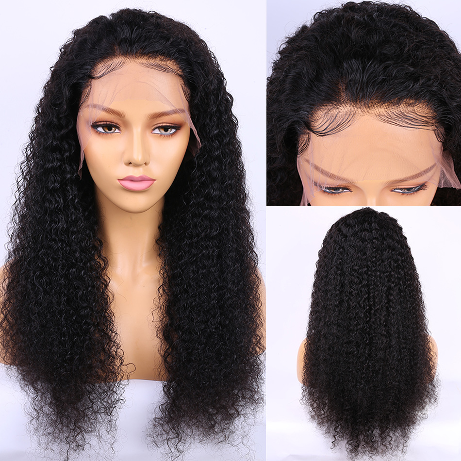 ALIBELE HAIR Malaysian Deep Curly Wave Human Hair Wig For Black Women 150% Short and Long 13x4 Remy Human Hair Lace Front Wigs