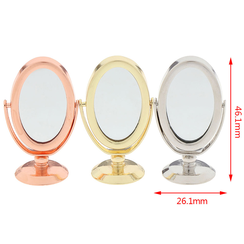 Doll House Miniature Vintage Glod Sliver Rose Gold Vanity Mini Mirror 1/12 Scale Dolls Bathroom Furniture Toy Accessories