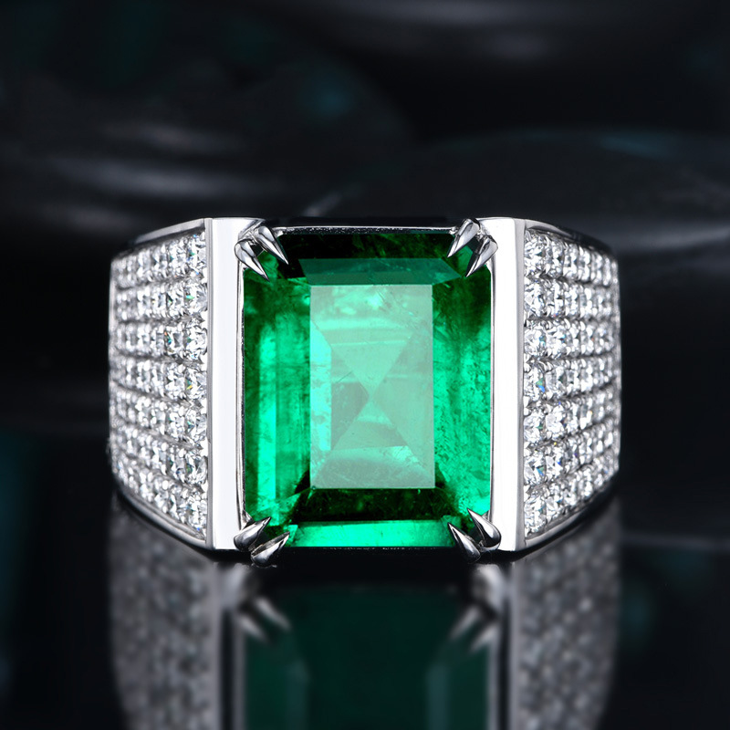 Handmade Male Square Simulated Emerald cz Ring 925 sterling silver Engagement Wedding band Rings for men Gemstones Party Bijou
