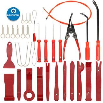 Kit de herramientas de montaje de Panel de Audio para coche 32 Uds. Juego de Herramientas de eliminación de Panel de reparación estéreo Barra de palanca para coche tablero de Radio Juego de Herramientas de eliminación de Clip
