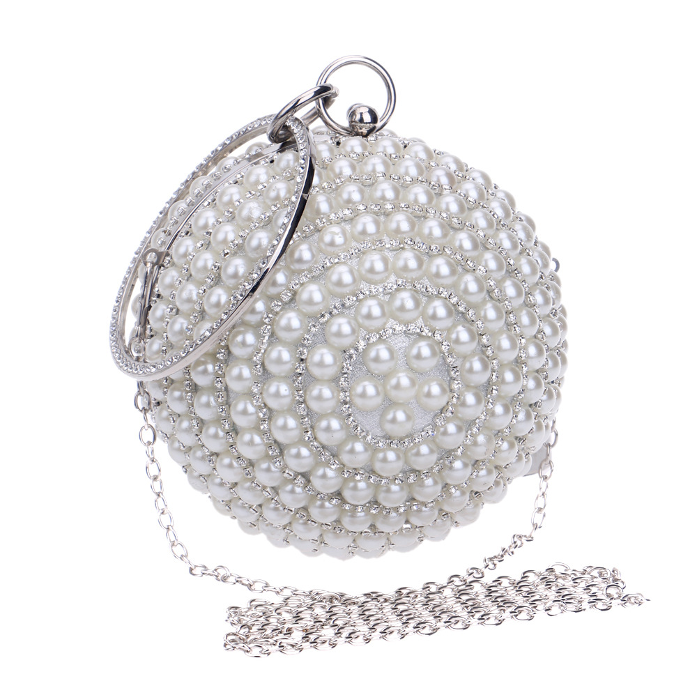 Luxury Circular Pearl Diamond Party Wedding Clutch Bag Ladies Chain Shoulder Bag Women's Evening Bag Mini Handbags Purse Wallets