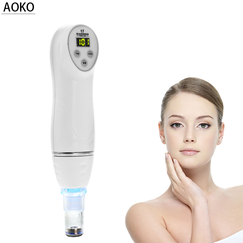 AOKO Portable Mini Diamond Microdermabrasion Skin Peeling Beauty Machine Vacuum Acne Blackhead Removal Face Cleaning Equipment
