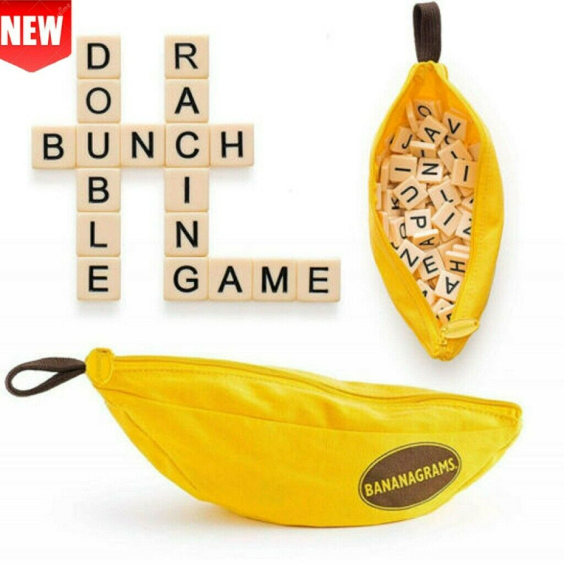 New Bananagrams Word Game Puzzle Kids Party Fun Toy Case Activity Letter Pouch Banaan Opbergtas Spelling Engels Woorden 2020