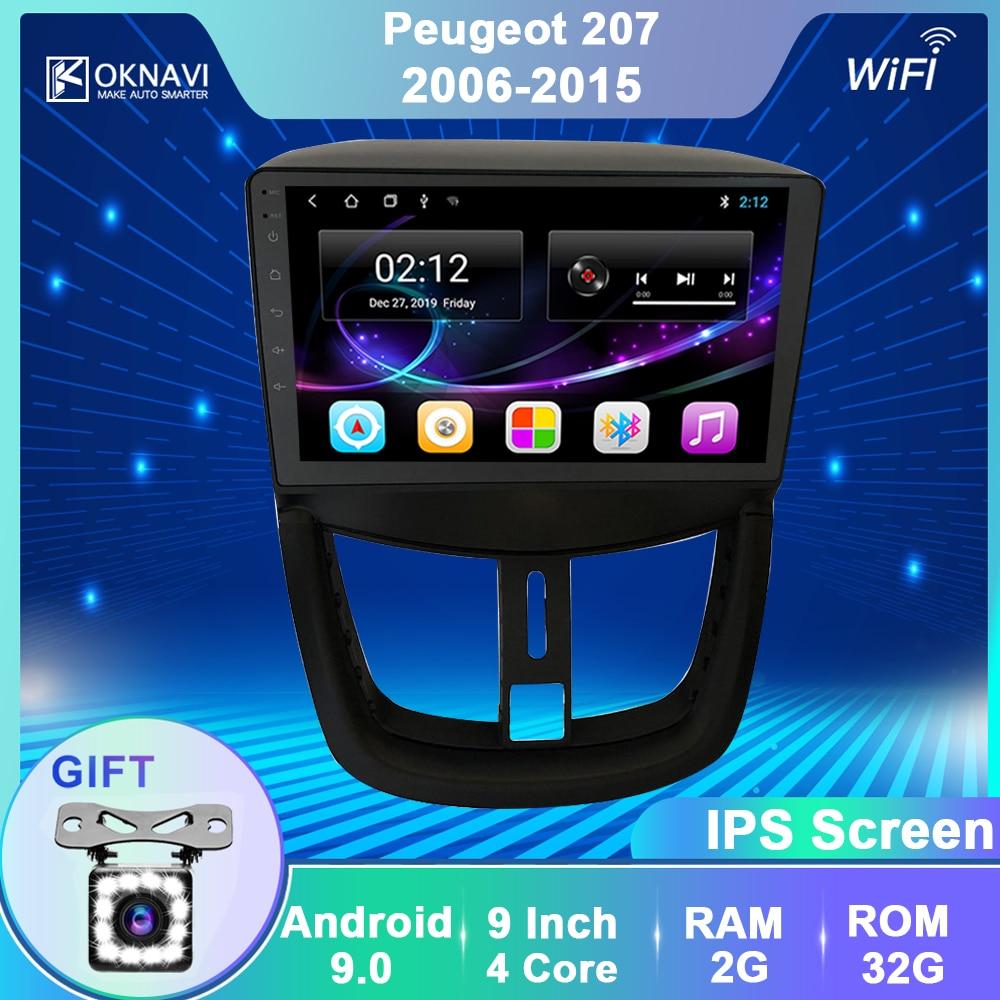 OKNAVI 9' Car Multimedia Player For Peugeot 207 2006 2008 2009  2010 2011 2012 2013 2014 2015 GPS Navigation Stereo Radio No DVD