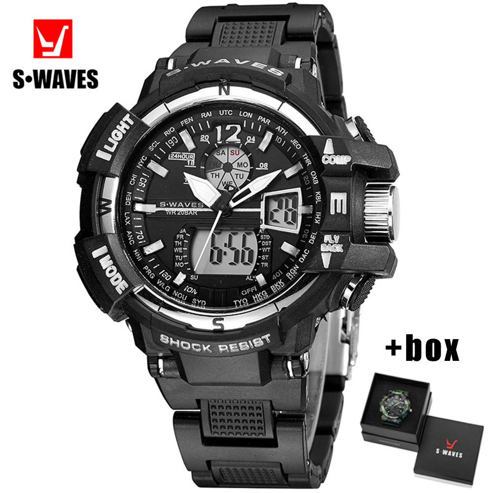SWAVES Dual Display Watches Mens 2019 Military Water Resistant Reloj Hombre Plastic Casual Quartz LCD Clock Men Watch With Box