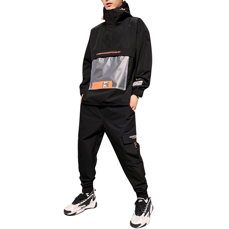 2019 Men's Hooded Jacket+Pants 2PC Sets Mal Workwear Tide Card Loose Pullover Front Pocket Coat& Long Pants Mal Clothing M-4XL