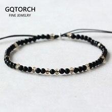 Женские маленькие браслеты из натурального камня, черный оникс ручной работы, тонкие браслеты из серебра 925 пробы с молитвой рейки