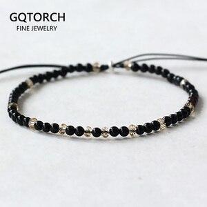 Image 1 - Pedra natural pequenos grânulos pulseiras para mulheres preto ônix artesanal yoga cura equilíbrio 925 prata oração reiki pulseiras finas