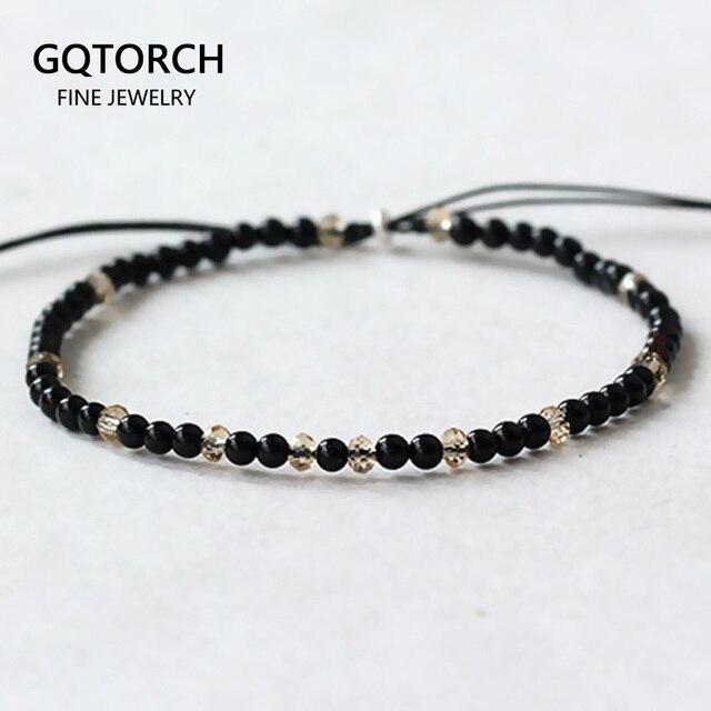 Pedra natural pequenos grânulos pulseiras para mulheres preto ônix artesanal yoga cura equilíbrio 925 prata oração reiki pulseiras finas