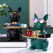 Resin Cool Bulldog Statue Coin Bank Figurine Home Decoration Modern Art Storage Statue Table Living Room Decor Accessories