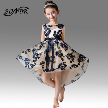 2017 flower girls dresses for wedding high low o neck ball gown sleeveless lace beads ribbon spring pageant kids communion dress Embroidery Kids Party Dress HT001 O-Neck Sleeveless Flower Girls Dresses  Pageant Dresses For Girls Zipper Communion Gowns